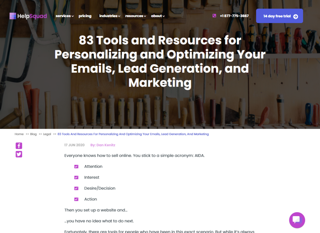 Type of links we target : resource pages screenshot