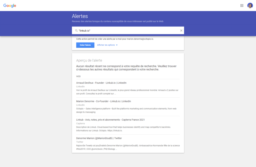 Google alerts is one of the best brand monitoring tools to convert unlinked mentions into links.