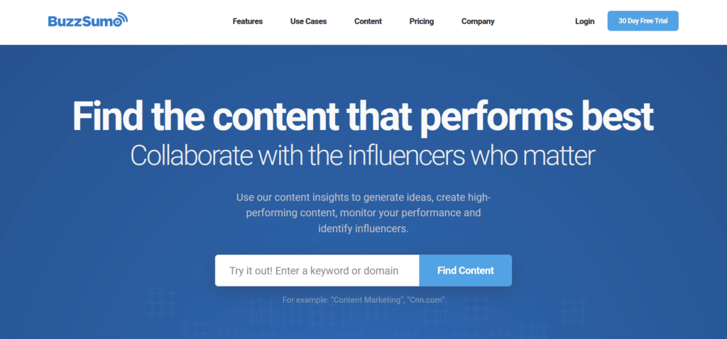 BuzzSumo is one of the best brand monitoring tools to convert unlinked mentions Into Links